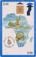 Télécarte à Puce Afrique ZIMBABWE - ZIM 03 - MAP AFRICA GAMES 30 $ - Sport NATATION SWIMMING Chip Phonecard - Simbabwe