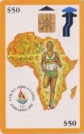 Télécarte à Puce Afrique ZIMBABWE - ZIM 04 - MAP AFRICA GAMES 50 $ - Sport ATHLETISME ATHLETICS  Chip Phonecard - Simbabwe