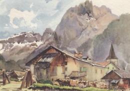 CANAZEI-TRENTO-VAL DI FASSA-CARTOLINA VIAGGIATA IL 9-8-1965-ILLUSTRATA DA ALDO RIMONDI - Trento