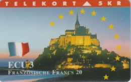 Télécarte DANEMARK - FRANCE - ABBAYE Du MONT SAINT MICHEL & Drapeau Flag - DENMARK Phonecard - Danemark