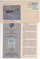 FDC (Madras) + Information On 1 Para Commando, Parachutting, Helicopter, Militaria, Defence, India 1986 - Fallschirmspringen