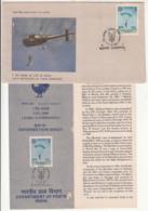 FDC (Calcutta) + Information On 1 Para Commando, Parachutting, Helicopter, Militaria, Defence, India 1986 - Fallschirmspringen