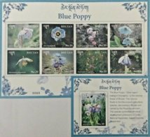 134.BHUTAN 2017 STAMP S/S + M/S FLOWERS, BLUE POPPY . MNH - Bhutan