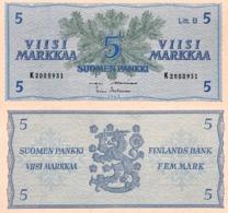 FINLAND 5MK 1963 Litt.B K54858xx  P-106A UNC - Finlandia