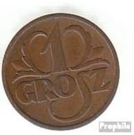 Pologne Km-no. : 8 1938 Très Déjà Bronze Très Déjà 1938 1 Grosz Couronné Adler - Pologne