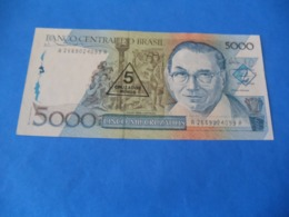 Billet 5000 Cruzados 1989 , Surchargé 5 Nuevos Cruzados , Brésil - Brésil