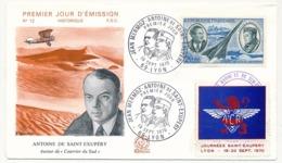 FRANCE - FDC 20,00F Mermoz - Saint Exupéry Avec Vignette Journées St Exupéry - LYON - 19/20 Septembre1970 - Erinnophilie