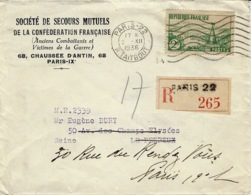 1936- Enveloppe RECC. De Paris-22 Affr.  N°311 SEUL - 1921-1960: Periodo Moderno
