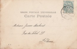 LOIRE CP 1904 ST ETIENNE CACHET DE LEVEE EXCEPTIONNELLE APPOSE A TORD SUR 5C BLANC - 1877-1920: Periodo Semi Moderno