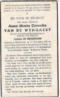 Austruweel, Wilrijk, 1953, Anna Van De Wyngaert, De Meulenaere - Devotieprenten
