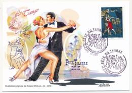 France - Carte Fédérale - Fête Du Timbre 2015 - Le Timbre Fait Sa Danse (Le Tango) -  LYON - France