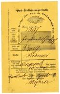 """""""OSNABRÜCK"""" Guter NDP Postschein Für Wertbriefe Bis 3.000 Thaler 1868 - Norddeutscher Postbezirk (Confederazione Germ. Del Nord)"""