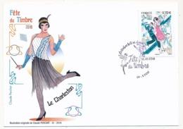 France - Carte Fédérale - Fête Du Timbre 2016 - Le Timbre Fait Sa Danse (Le Charleston) -  LYON - Brieven En Documenten