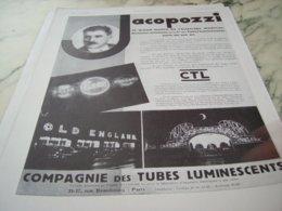 ANCIENNE PUBLICITE TUBES LUMINESCENTS DE JACOPOZZI  1930 - Advertising