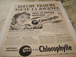 ANCIENNE PUBLICITE DENTIFRICE A LA CHLOROPHYLLE GIBBS  1952 - Parfums & Beauté