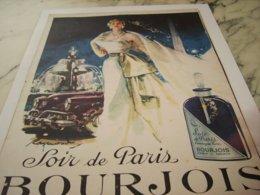 ANCIENNE PUBLICITE  SOIR DE PARIS BOURJOIS 1952 - Parfum & Cosmetica