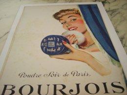 ANCIENNE PUBLICITE  POUDRE SOIR DE PARIS BOURJOIS 1952 - Perfume & Beauty