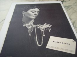 ANCIENNE PUBLICITE BIJOUX  BURMA  1952 - Juwelen & Horloges