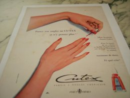 ANCIENNE PUBLICITE VERNIS A ONGLES CUTEX 1952 - Sin Clasificación