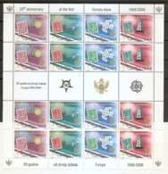 MONTENEGRO 2006,50 YEARS OF EUROPA CEPT STAMPS,SHEET,VIGNETTE,,STAMP ON STAMP,COAT OF ARMS,FAUNA,,MNH - 2006