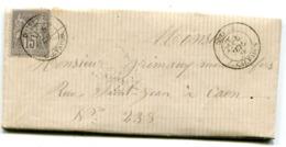 CALVADOS De DOZULE Dateur T 18 Sur LAC Du 5/07/1878 - Storia Postale