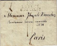 1813- Letter From 128 / LUBECK / B. DE L'ELBE - 37 Mm Black To Paris - Allemagne