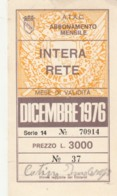 ABBONAMENTO ATAC ROMA DICEMBRE 1976  (BK585 - Season Ticket