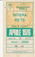 ABBONAMENTO ATAC ROMA APRILE 1976  (BK593 - Season Ticket