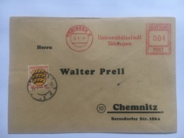 GERMANY 1947 Allied Cover University Of Tubingen Meter Mark To Chemnitz Uprated - Französische Zone