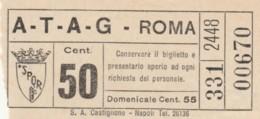 BIGLIETTO BUS ATAG ROMA CENT.50 (BK880 - Europa