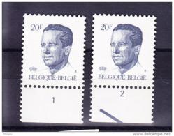BELGIQUE COB 2135 ** MNH PAIRE AVEC NR PLANCHE 1/2, GOMME JAUNE. (4TJ13) - 1981-1990 Velghe