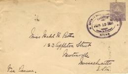 "1898- Cover E P 10 Centavos From RIVAS To Newtonville ( U S A )  "" Via Panama "" - Nicaragua"