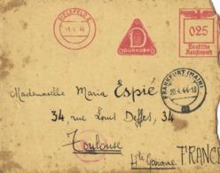 Lettre Affranchissement Mecanique 0.25 Deutch Reichpost DUTKOPP  Cachet Bielefeld 2 1 4 44 Vers Toulouse  RV - Allemagne