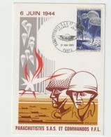"""CARTE  """" PARACHUTISTES S.A.S & COMMANDOS F.F.L.6 JUIN 1944 -        31 Mai 1969  PARIS - 1921-1960: Periodo Moderno"""