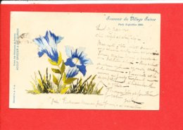 75 PARIS EXPOSITION 1900 Cpa BRODEE Souvenir Du Village Suisse         Edit A Grieder - Expositions