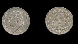 LOUIS XVIII . SECOND GOUVERNEMENT ROYAL . 5 FRANCS 1824 W . ( LILLE ) . - J. 5 Francs