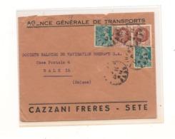 FRANCE  ENVELOPPE  DE SETE POUR BALE (SUISSE) - Postmark Collection (Covers)