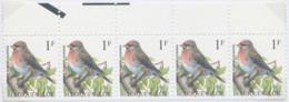 Belgium Birds, Common Redpoll (Andre Buzin) 1992 ** Se-tenant With Margins, 5v. - Uccelli Canterini Ed Arboricoli
