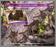 CENTRALAFRICA 2019 MNH Bats Fledermäuse Chauves-souris S/S - IMPERFORATED - DH1943 - Bats
