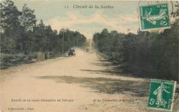 CPA 72 Sarthe Circuit De La Sarthe Entrée De La Route Forestière De Vibraye De La Touloubre Et Hémery Sport Automobile - Vibraye