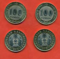 Kazakhstan 2019.Lot Of Two Coins 100 Tenge Bimetal. One With An Error In The Inscription On The Edge. ERROR!!! NEW!!! - Kazakhstan