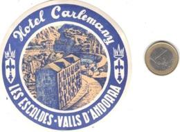 ETIQUETA DE HOTEL  -  HOTEL  CARLEMANY  -LES ESCALDES-VALLS D'ANDORRA  (CON CHANELA) - Etiquetas De Hotel