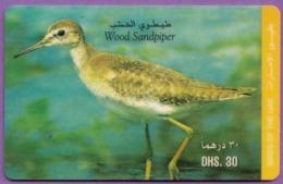 Telecarte °_ Emirats.UAE-oiseau-Wood Sandpiper-Dhs30- R/V 2917 - Emirati Arabi Uniti