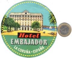 ETIQUETA DE HOTEL  - HOTEL EMBAJADOR  -LA CORUÑA -ESPAÑA - Etiquetas De Hotel