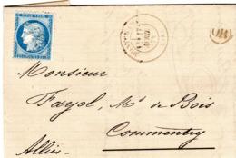 Lettre Du 17/04/1874 GC 2441 - MONTCHAMP CANTAL - Cachet OR = A LA MARGERIDE - N° 60 B - Passe 2565 Au Verso - Très Rare - 1849-1876: Klassieke Periode