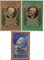 -Timbres Contre La Tuberculose -3 Timbres  Grand Format 15 X 10.5 Cms (1934 -10 Et 50 Frs -1939 -5 Frs- Voir Détail - - Erinnofilia