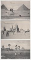 AB893 - EGYPTE - LOT 3 CARTES - CAIRE - Village Arabe, Sphinx, Pyramides, Tombeaux Des Mamelouks - Cimetière - Le Caire