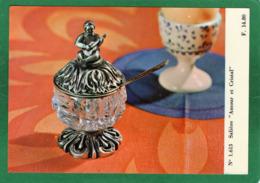 VAISSELLE CRISTAL   SALIERE AMOUR ET Cristal   CARTE  N° 1.613  état Impeccable 15cmX10,50cm - Photos