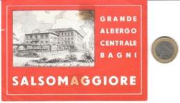 ETIQUETA DE HOTEL  - GRANDE ALBERGO CENTRALE BAGNI  -SALSOMAGGIORE -ITALIA  (CON CHANELA) - Etiquetas De Hotel