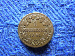 GERMANY BAVARIA 1 KREUZER 1861, KM858 - Petites Monnaies & Autres Subdivisions